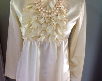 Vintage yellow satiny top.....Paul Revere front ruffled.....high neckline...empire waist