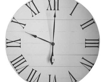 Antique White Wood Clock- Wall Clock - Rustic Clock - Farmhouse Clock- Wood Clock - Roman numeral Clock - Large Clock -