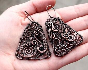 Wire wrapped earrings Copper earrings Boho earrings Wire earrings Copper wire earrings Boho Wire wrapped jewelry Wire dangle boho earrings