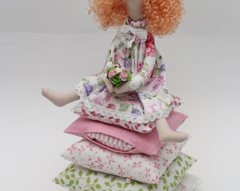 Princess and the Pea, doll handmade, toy for girl, room decor doll
