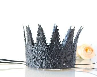 Aspen Black Mini Lace Headband - Photography Prop - Gothic Princess - Black Fairy - Maleficent - Dark Queen - Tiara