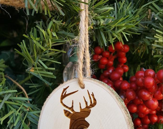 Monogram Ornament- Deer Christmas Ornament - Antler Ornament - Rustic - Hunter - Arrow