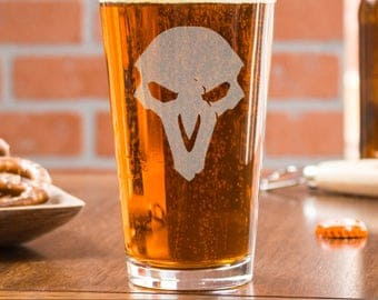 Overwatch Beer Glass - Overwatch Tracer, Reaper, Dva and more - New! Ana and Sombra - Pint Glass