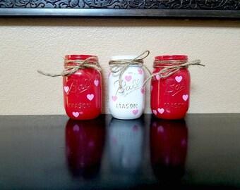Valentine's Day Mason Jars - Valentine's Day Decor - Valentine's Day Gift - Valentine's Day Vase - Valentine Mason Jar - Valentine's Day Jar