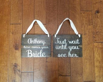 Uncle Here Comes Your Bride - Here Comes the Bride - Wedding Sign - Ring Bearer Sign - Flower Girl Sign - Ring Bearer - Wedding