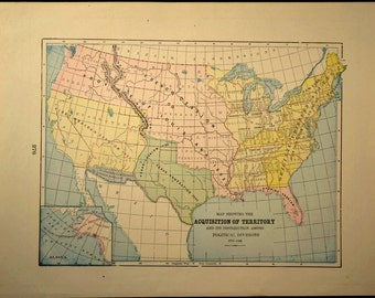 Antique United States Territory Map Us Early 1900s Original
