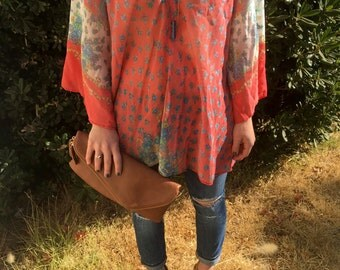 Red Patterned Bell Sleeve V-Neck Sheer Tunic Top