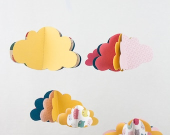 Mobile cloud paper + Garland matching clouds - yellow pink cats - one - baby decor gift baby girl nursery room