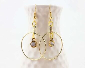 gold hoop earrings - gold dangle earrings - gold and crystal earrings - gold disco earrings - gold costume jewelry - gold party earrings