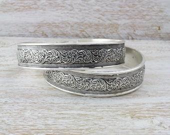 Silver Thai Filigree Pattern Cuff Bracelet