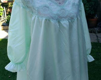 Shabby chic vintage chic Chartreuse green Nightgown women night gown embroidery chic woman bride chic wedding