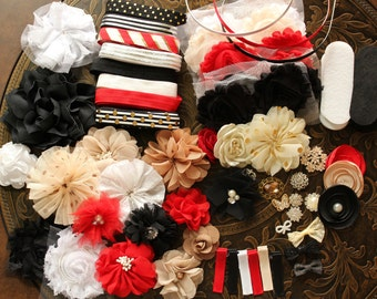 Red and Black Headband Making Kit with Elastic, Clips and Metal Headbands