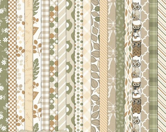 """Digital Printable Scrapbook Craft Paper - Camp Ground - Neutral Brown Green Khaki Owls Nature Leaves Plaid - 12 x 12"""" - PU/CU Commercial Use"""