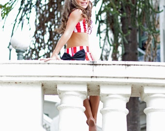 Red and white stripe set. Dancewear. Sizes 4-14