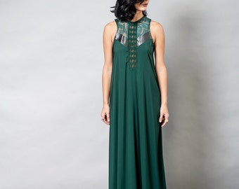 Forest Green Maxi Dress / Elegant Long Lace Dress / Evening Sleeveless Dress / Bridesmaid Dress / Oversize Prom Dress / Premier Dress - Noir