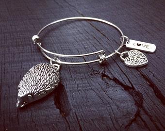 Hedgehog Charm Bangle Bracelet | Hedgehog Jewelry | Gift For Hedgehog Lover | Hedgie Bracelet | Hedgie Jewelry | Hedgehog Rescue & Foster