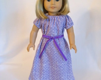 Purple Nightgown for American Girl Doll and 18-inch Dolls - Doll Purple Knit Summer Nightgown
