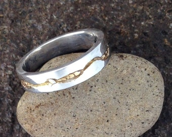 Carved Sterling Silver Band Ring with 14K Gold Accents Size 7-8, Wedding Band