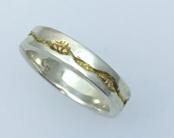 Carved Sterling Silver Band Ring with 14K Gold Accents