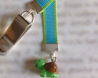 Turtle bookmark, cute bookmark with clip - Attach to book cover then mark the page with the ribbon. Never lose your bookmark!