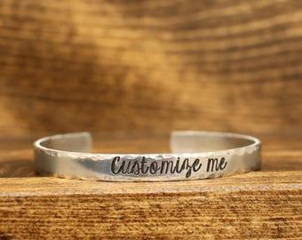 Customized Cuff Bracelet - Personalized Cuff Bracelet - Aluminum Cuff - Custom Cuff - Hand Stamped Cuff - Personalized Cuff