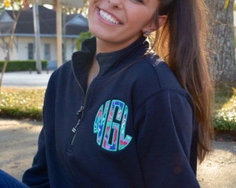 Preppy Lilly Pulitzer Monogrammed Quarter Zip Pullover Sweatshirt