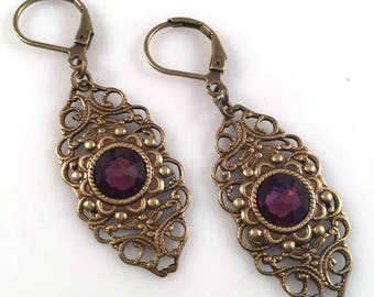 Amethyst Swarovski Crystal Filigree Earrings - Swarovski Earrings - Purple Crystal Earrings - Dawn Santucci - Metal di Muse - Purple Jewelry