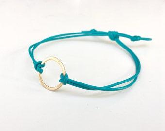 14K SOLID Gold and Leather Bracelet - Eternity Open Circle Friendship Bracelet Turquoise Adjustable Boho Style Wrap Bracelet