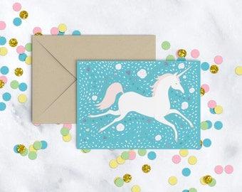 Printable Unicorn Card in Mint