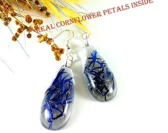 Cornflower blue wedding Jewelry gifts For her Nature lover gift For teen Bridal earrings Mother's Day gift for girlfriend Birthday gift mom