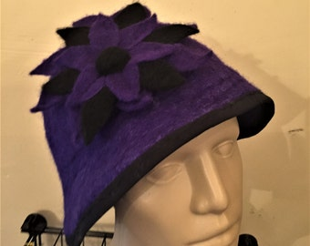 Violet Cloche Hat with Felted Flower