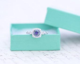 SALE - Mystic Topaz Engagement Ring - Cushion Cut Ring - Art Deco Ring - Halo Ring - Wedding Ring - Rainbow Topaz -  Sterling Silver