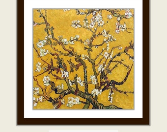 Yellow Gold Printable Wall Art Decor Flower Digital INSTANT DOWNLOAD Print Van Gogh Almond Blossoms