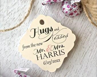 Kisses favor tags, favor tags, wedding favor tags, hugs and kisses tags, thank you tags - set of 30(tg46)