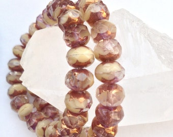 Czech Artisan 6 x 9 mm Faceted Rondelle Rondell Two Tone Beads - Transparent Mauve Rose and Cream/Ivory with Copper Edges--25 Beads