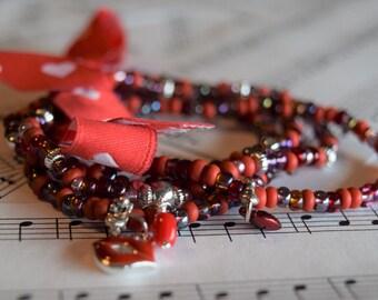 Elastic Red Variation (4) Romantic Bracelets V01