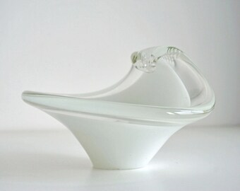 Sommerso Murano Glass Bowl, vintage venetian vase glass handblown color white