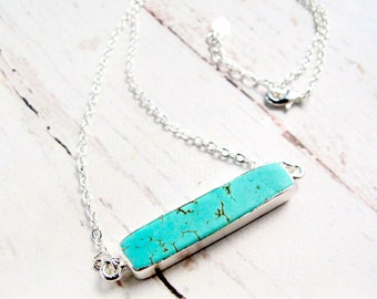 Horizontal Turquoise Bar Necklace-Turquoise and Silver-Turquoise Pendant Necklace-Turquoise Jewelry-Gift for Mom-Mothers Day Gift-Mom Gift