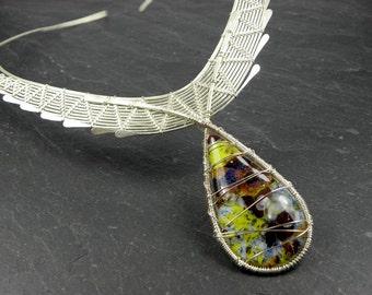 Necklace Sculpture Variations Tissen in sterling silver