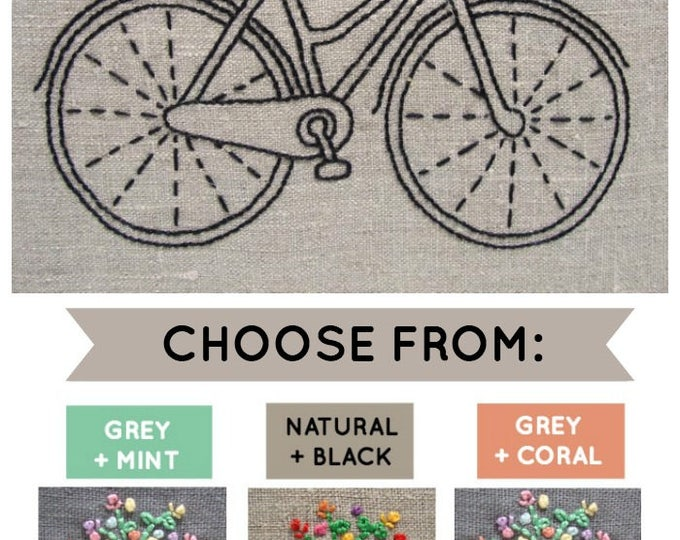 Embroidery Kit: Bicycle (Natural/Black)