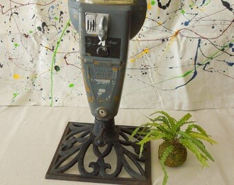 Industrial Quirky Art Parking Meter on Stand - Man Cave Decor - Upcycled Steampunk Meter - Automotive Altered Art Vintage