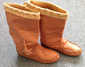 1970s Women's Leather Boots, Pull On Tall Mocassin Boots, Vintage Fringed Mocassins Leather Sole. Made in Brazil