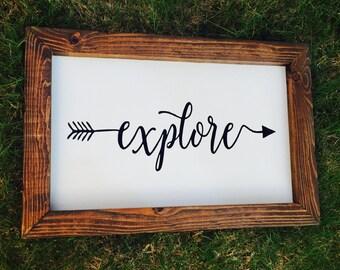 Explore Sign, Explore Arrow Sign, Fixer Upper Decor, Wanderlust Sign, Explorer Sign, Farmhouse Sign, Boho Nursery Arrow Sign, Farmhouse