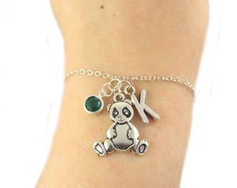 Panda Bracelet- choose a birthstone and initial, Panda Jewelry, Panda Gift, Personalized Panda, Panda Charm Bracelet, Panda Bear Bracelet
