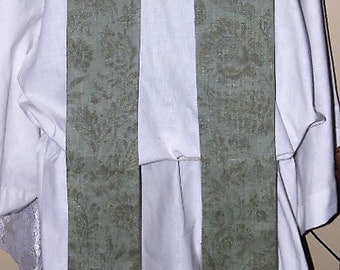Green Linen and Silk Lined Clergy Stole  Traditional Priest Vestment Anglican Catholic Lutheran Methodist Episcopalian
