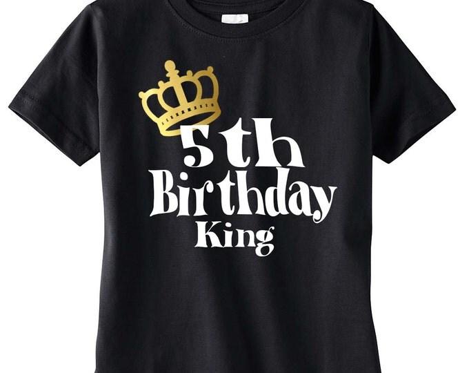 Boys 5th Birthday Shirt, Birthday Boy Shirt, Birthday King, Birthday Party, Birthday Outfit