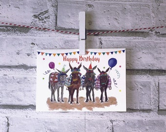 Party Donkey's Birthday Card - Blank Inside, A6 with Kraft Envelope