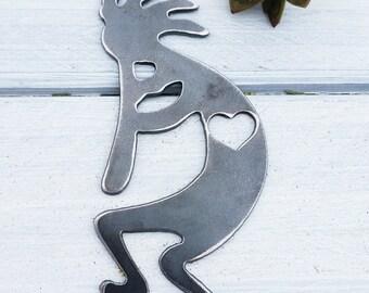 Kokopelli Ornament Rustic Raw Steel Trickster Flute Player Southwest Theme Southwestern Decor Heart Christmas Tree Decoration