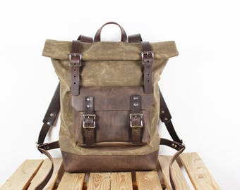 Canvas Backpack/ Leather backpack/ Waxed canvas backpack/Overnight Bag/ Carry On Luggage/ Backpack Rolltop/ Mens backpack/ Cabin Luggage