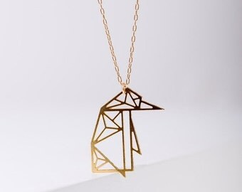 MIZYAN's geometric penguin necklace, origami penguin, geometric accessories, gift for her